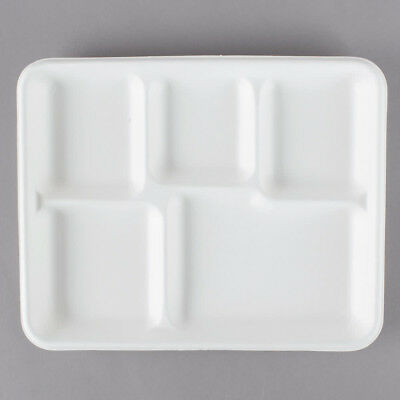 """Vegware 8"""" x 10"""" Biodegradable, Compostable Bagasse 5-Compartment Tray - 50/Pk"""