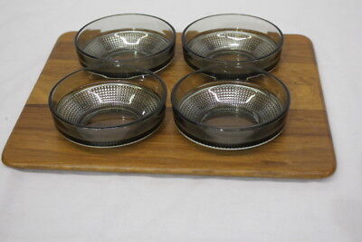 Vintage MCM Modern DIGSMED Teak Wood Serving Tray w/Smoke Glass Bowls, Denmark
