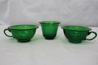 Set of 3 Antique Chinese PEKING GLASS Green Cups: 2 Handled Teacups, 1 Handless