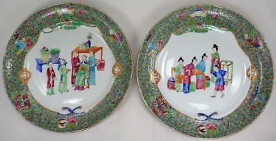 PAIR Antique Chinese Export 19th Century Famille Rose Porcelain Plates Figures