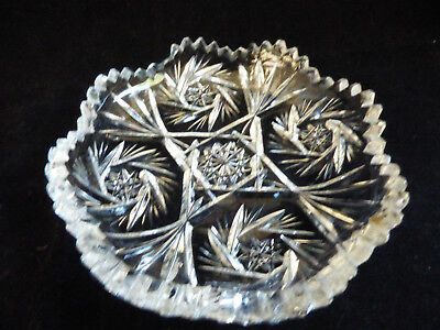 Antique Vintage American Brilliant Period Cut Crystal Glass Lace round Bowl dish