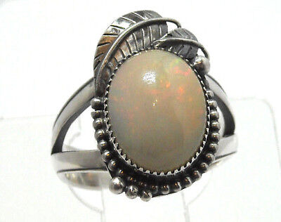 NEW Large 18mm Natural White Fire Opal Solid Sterling 925 Silver Ring Size 9