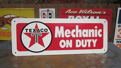 Texaco Mechanic On Duty Sign Service Station Gas Pump Hot Rod