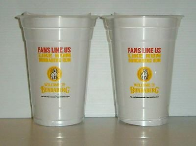 Bundaberg Bundy Rum brand new x 2 plastic drink cups for home bar collector