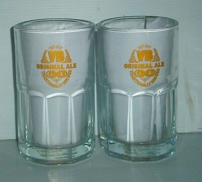 VB Victoria Bitter Ale Beer label brand new pair of 2 long 330ml drink glasses