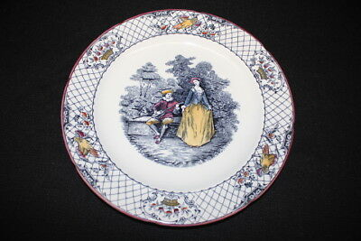 """Vintage Hand Colored Ashworth Brothers WATTEAU 10.5"""" Dinner Plate, England"""