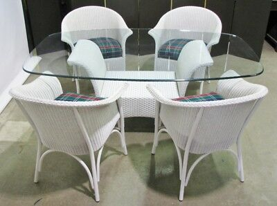 Lloyd Loom White Wicker Glass Top Table & Four Chairs; Excellent Condition