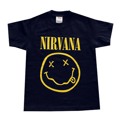 Children Boy Kids T- Shirt NIRVANA Smiley Face Graphic Shirt Black