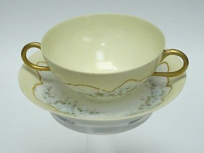 Jpl Jean Pouyat Limoges France Gilded Painted Egg Shell Bouillon Cup & Saucer