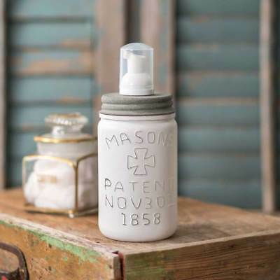 Vintage Repica White Pint MASON' Jar FOAMING Soap Dispenser Gray