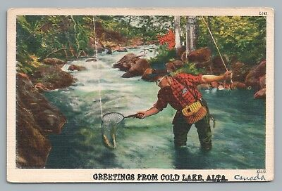Fly Fishing in COLD LAKE ALBERTA Rare Vintage Linen Postcard—Trout Plaid 1955