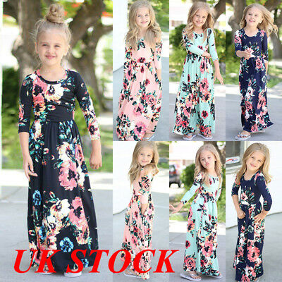 4ce8d00cb2a UK Kids Girls Long Sleeve Floral Maxi Dress Infant Holiday Beach Party  Romper