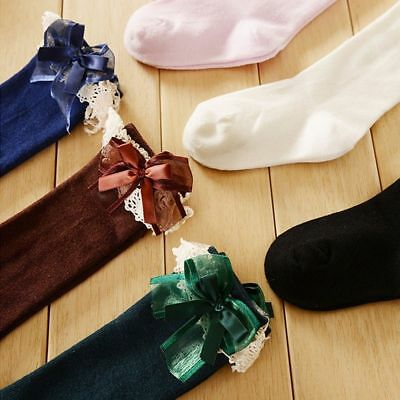 Baby Girl Toddler Kids Knee High Length Socks Bow Lace Frill 1-5 Years Cotton
