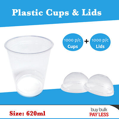 Disposable Plastic Cups and Dome Lids 620ml Party Cups Drinking Water Beer Cups