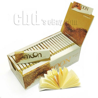1 box Moon Unbleached Hemp Cigarette Rolling Papers 1.0 inch 2500 leaves & Tips