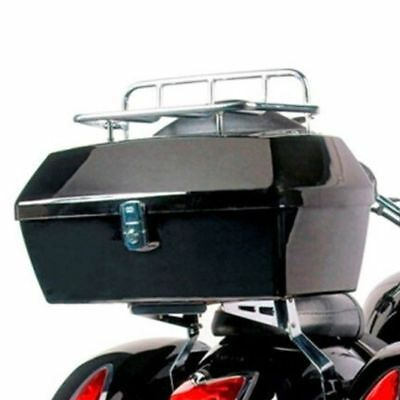 Black Motorcycle Trunk Tail Box Luggage W/ Top Rack Backrest For Suzuki Cruisers
