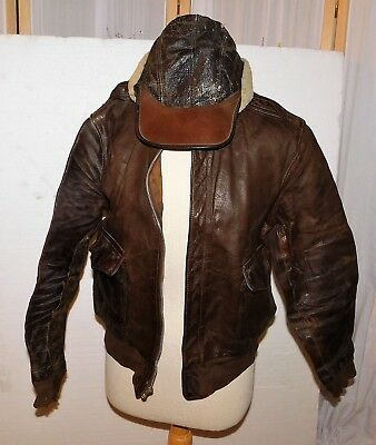 2b6c527f0 US ARMY AIR Force WWII Leather Flight Bomber Jacket~leather cap~ Arrival  Report