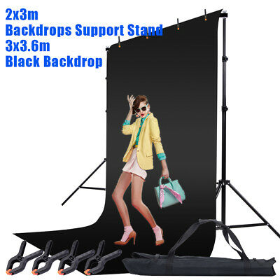 Photography 3x3.6m Muslin Black Backdrop Stand Background Support Studio Kit