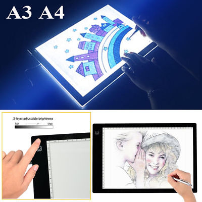 Stepless Dimming A4 LED Tracing Light Box Stencil Drawing Board Pattern Art Pad