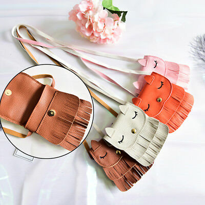 1x Cute Baby Girls tassel Purse handbag Children Kids Cross-body shoulder bag 3C