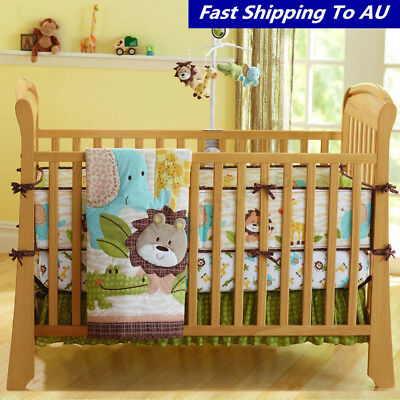 7Pcs Baby Bedding Crib Cot Quilt Set Nursery Bumper Sheet Dust Ruffle Blanket