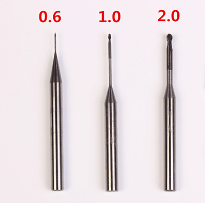 3PCS Roland system Dental Milling Burs 0.6/1.0/2.0mm Diamond Coated, Ball end.