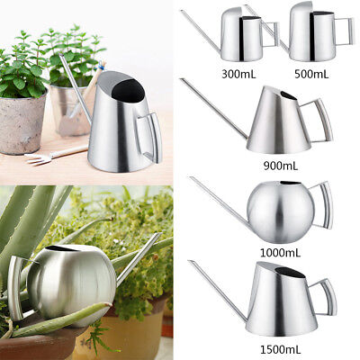 Stainless Steel Watering Can Garden Plant Flower Long Mouth Sprinkling Pot JS