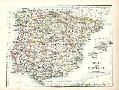 Antique Map ~ SPAIN and PORTUGAL in EUROPE ~ W & A. K. JOHNSTON 1897