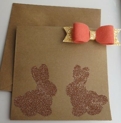 Handmade Card - Easter Design With Attached Hair Bow - Handmade Cards