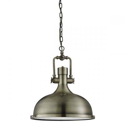 Antique Brass Industrial Pendant Light With Frosted Diffuser