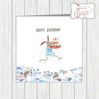Birthday Card Quirky Comical Funny Rabbit Running Carrying Carrot Cake Cupcake