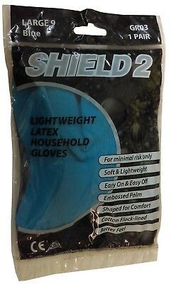 Shield 2 GR03 Lightweight Latex Household Gloves Pack Of 10 Large 9