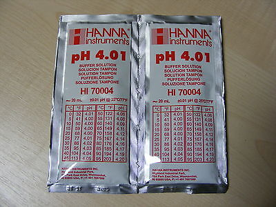 2 X Hanna Ph Solution Calibrage Tampon Evaluation Ph Sachets Haute 70004 4.01 Ph