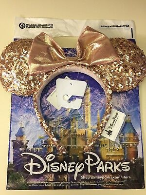 Disney Parks Rose Gold Champagne Minnie Mouse Bow Sequins Ear Hat Headband Ears