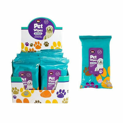 50 Pet Hygiene Dog Puppy Cleaning Wet Wipes for Muddy Ears Paws Body Head
