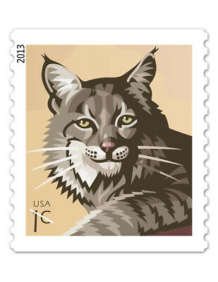 USPS New 1-Cent Bobcat Water-Activated Gum Stamp Roll of 10,000