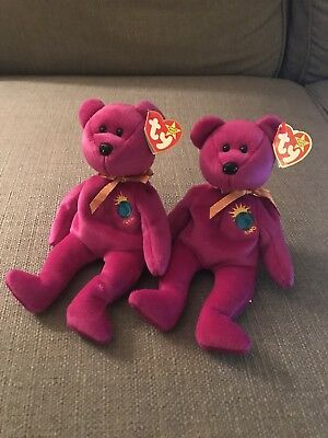 TWO 1999 Ty Beanie Baby MILLENNIUM The Bear MWMT MINT CONDITION RARE Retired f09384d161ee