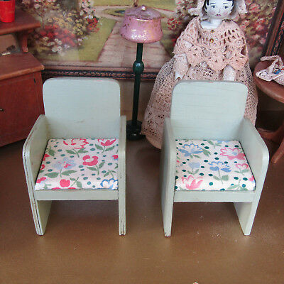 Antique 20s Dollhouse GREEN CHAIR LOT Wood Armchair Living Room Furniture 1920s