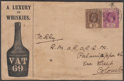 "Ceylon 1922 pictorial illustrated advrt. cvr ""A Luxury in Whiskies,VAT 69"" used."
