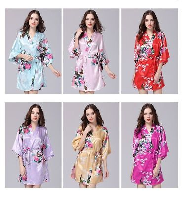 70670c14df Hot Women robe Silk Satin Robes Wedding Bridesmaid Bride Gown kimono 6  Piece Set