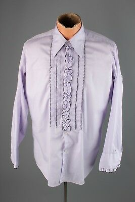 Vtg 1970s Men's After Six Ruffled Tux Dress Shirt Sz M 15x32 70s #4330 Tuxedo