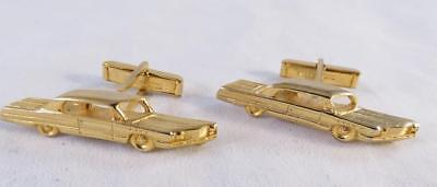 1950S Vintage Automobile Gold Toned Cufflinks Exc Condition Patented