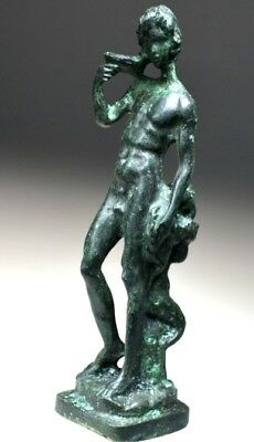 Greco-Roman Bronze Statue of Bacchus (Dionysus) and Satyr