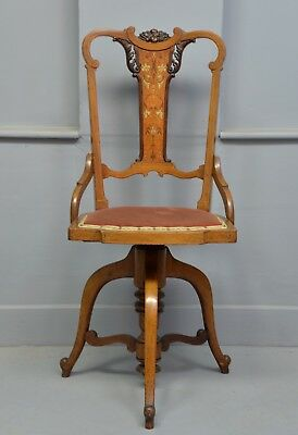 Stunning Victorian Mahogany Adjustable Piano / Desk Chair