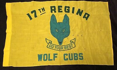 Vtg Wolf Cubs Flag 17th Regina Boy Scouts Canada Cub Pack Banner Do Your Best