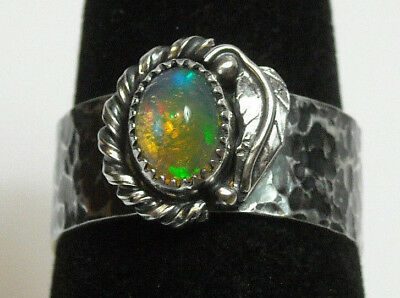 Handmade Leaf Rope Natural Fire Opal Solid Sterling 925 Silver Ring Size 6.5