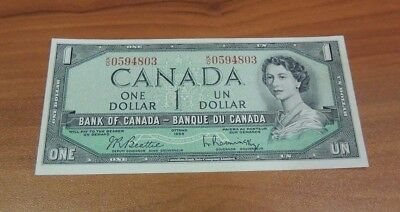 Canada One 1 Dollar Note 1954 Foreign Paper Currency