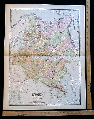 Antique 1892 Map Of Russia Excellent Large Size For Wall Decor 28 x 22