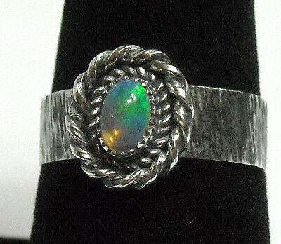 NEW Handmade Blue Green Natural Fire Opal Solid Sterling 925 Silver Ring Size 8