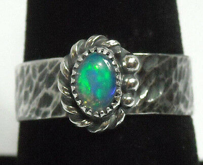 NEW Choice Green Blue Natural Fire Opal Solid Sterling 925 Silver Ring Size 8.5